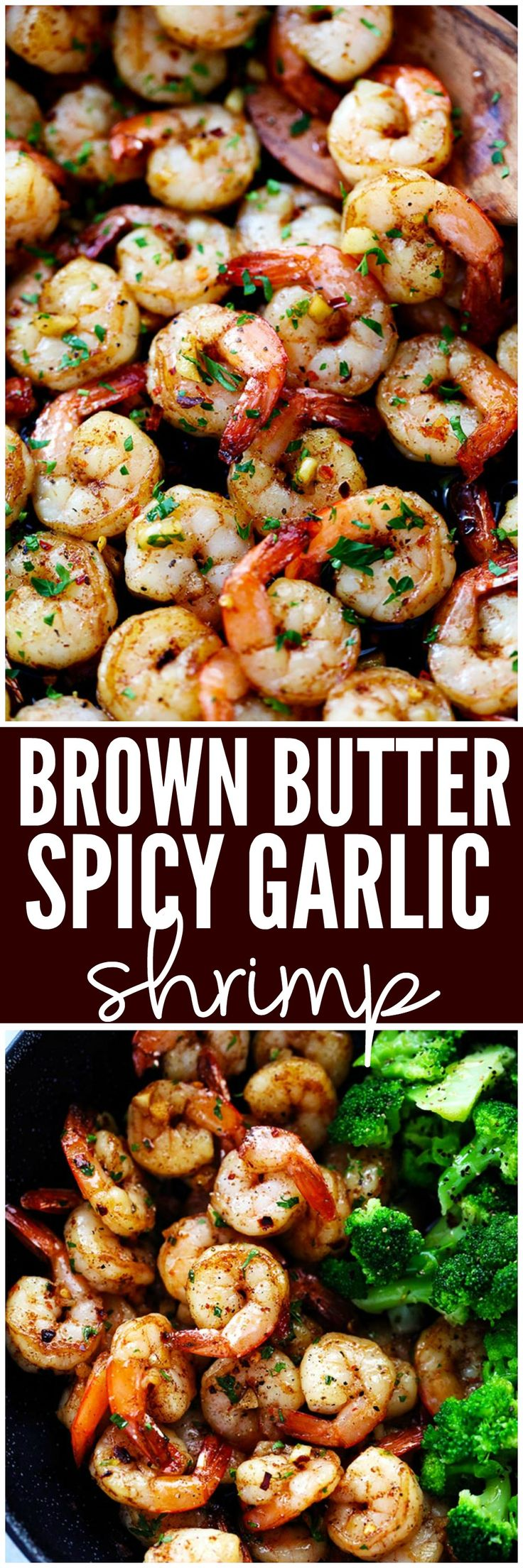 Brown Butter Spicy Garlic Shrimp is an incredibly easy meal that is ready in just 15 minutes! The brown butter flavor is so luxurious over the spicy garlic shrimp. It will wow your family!