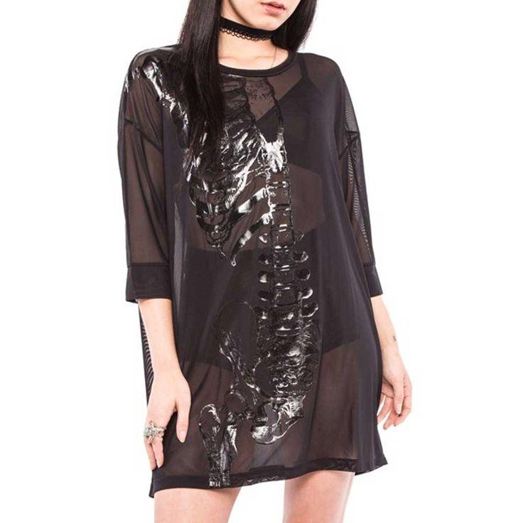 Iron Fist Wishbone Mesh Cover Up korte doorzichtige jurk zwart - Zombi