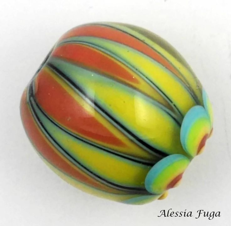 Handmade focal lampwork glass bead in coral,yellow, light green and light turquoise- Circus series di alessiafuga su Etsy