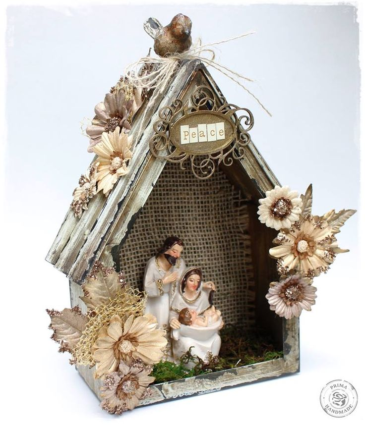 Wow! Luciana Warnowski turned our Finnabair metal birdhouse into the coolest nativity scene ever! #christmas #nativity #DIY #handmade