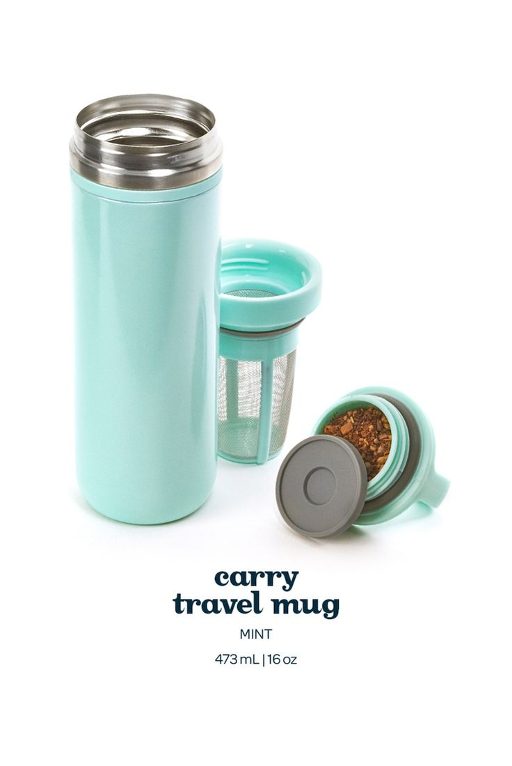 Carry Travel Mug - Mint. Not only is this pretty light pink travel mug 100% leakproof, it also keeps your tea hot for hours on end.