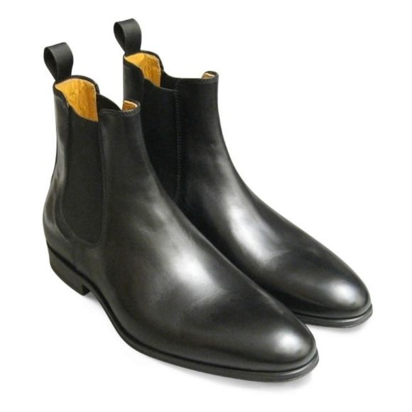 Handmade Men Black Leather Chelsea Boots, Men Ankle Boots, Men Chelsea Boot - Dress/Formal