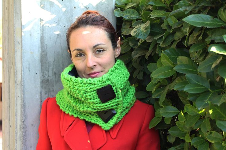 Handmade, knitted, woolly, fluo green and blue neckwarmer with wood buttons * Scaldacollo a maglia verde fluo by asilehandmadewlove on Etsy