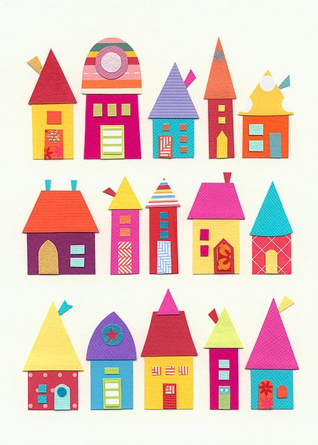 Paper Houses All In A Row  by caroline rose art, via Flickr