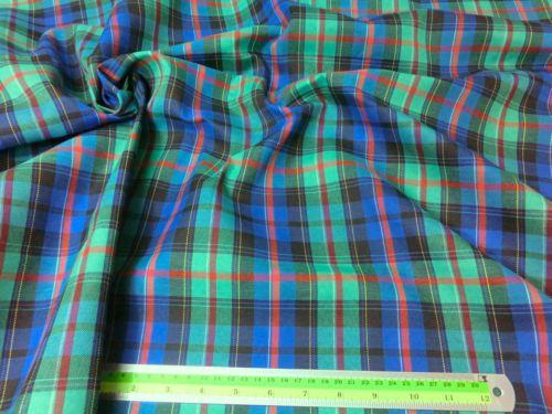 GREEN-BLUE-PLAID-TARTAN-THICK-COTTON-45-W-FABRIC-KILT-SKIRT-DRAPE-SHORTS