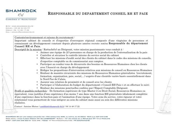 Recrutement : Responsable Département Paie, Social et Conseil RH H/F à Lille (59) / mai 2013 / référence Shamrock-366