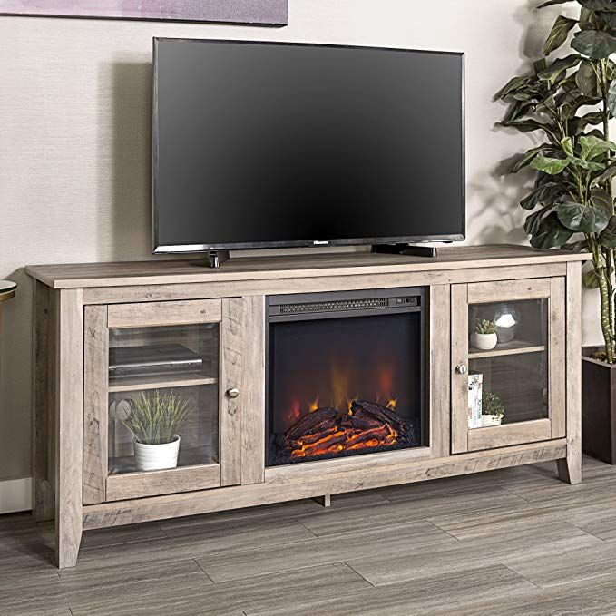 We Furniture 58 Quot Wood Media Tv Stand Console With Fireplace
