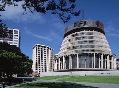 The Beehive - home of Executive Government, Wellington, New Zealand