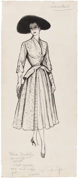 Marcel Fromenti (1886-1969)  Fashion illustration  London  1953-4  Pen and ink, wash and chinese white  Museum no. E.1610-1954    This is a fashion drawing based on design by Peter Russel, a designer in London. This dress and hat were designed for 'Ascot' as is understood by the pencil inscription on the page. It was drawn by Marcel Fromenti for illustration in The Lady magazine, London, 1953-4.