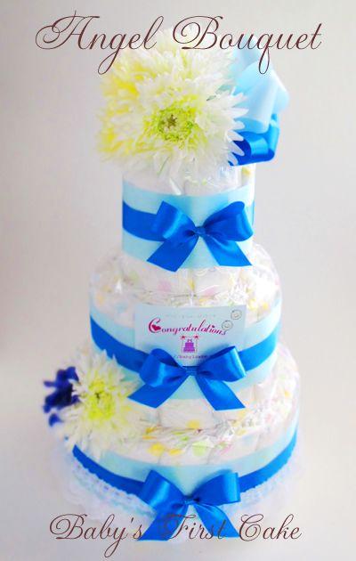 エンジェルブーケおむつケーキ・AOI☆ VIVID なカラーで、ボリュームのあるブーケ元気な赤ちゃんとママを祝して Congratulation! [ 大きさ (約)W30xD30xH50cm ] [ 内容 : 紙オムツ(S41個、M37個):~、アートフラワー、リボン、レース、カード ]