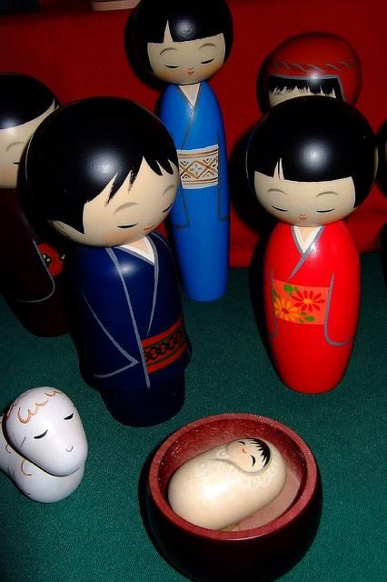 The Many Faces of Christmas - Kokeshi Dolls from Japan (1) by mharrsch, via Flickr