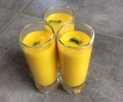 Soupe froide carotte, coco, citron vert