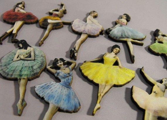 Vintage Ballerinas  Collection of 10 Wooden Laser by porkchopshow
