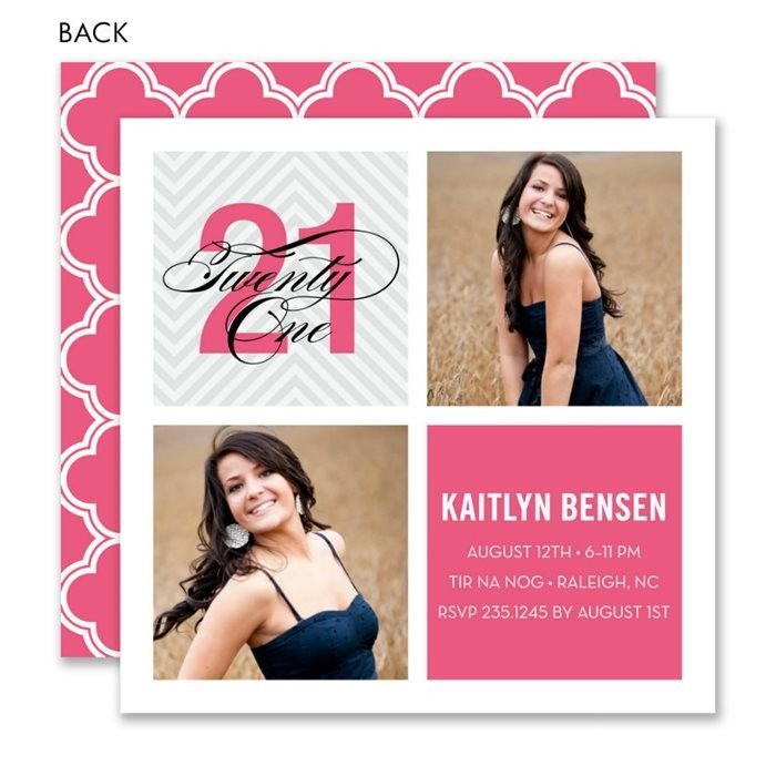 Modern Milestone Twenty-One Pink Birthday Photo Invitation