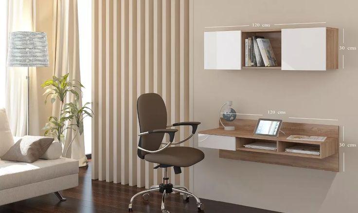 escritorio flotante minimalista con mueble superior