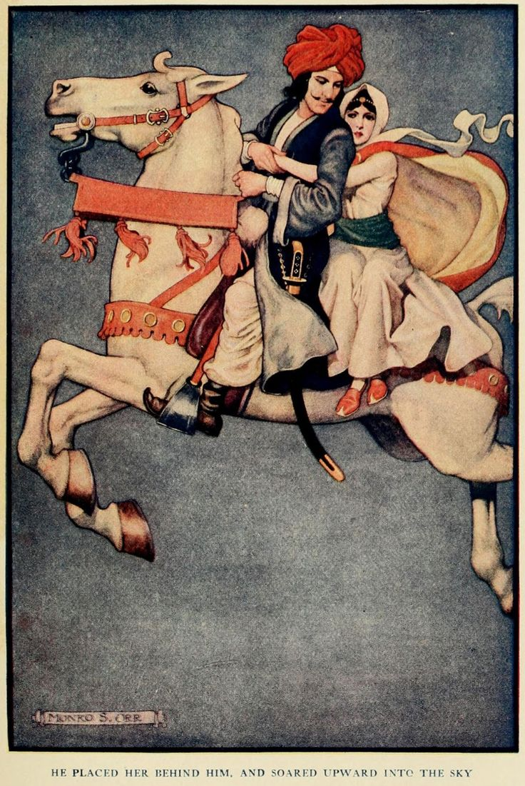 The Arabian nights (1913) Illustrations by Monro S. Orr, _He placed her behind him, and soared upward into the sky.