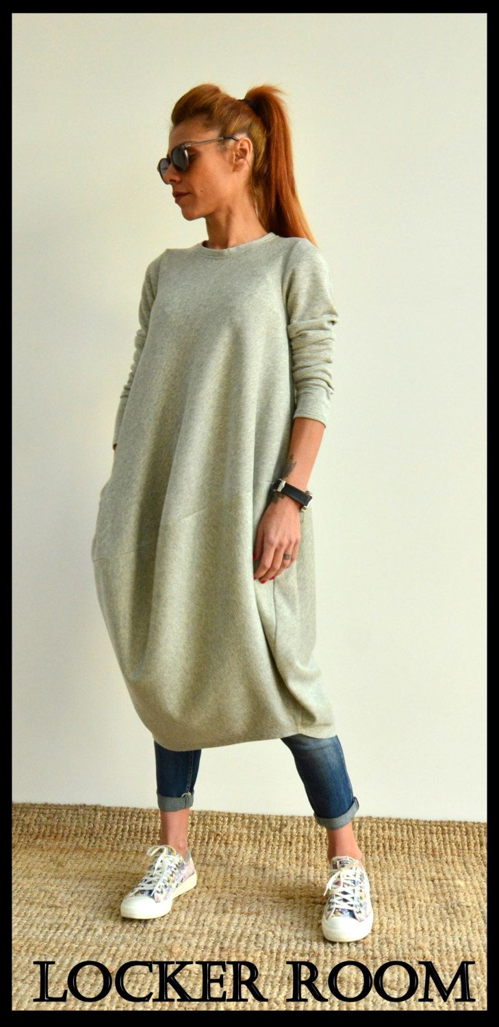 Maxi long tunic / Loose oversize top / Grey kaftan / Extra large viscose dress by ClothesByLockerRoom on Etsy