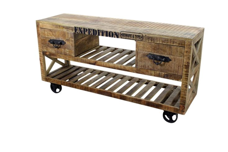 industrial office furniture | Industrial TV Stand with Iron Wheels Rustic Office Furniture | Mexican ...