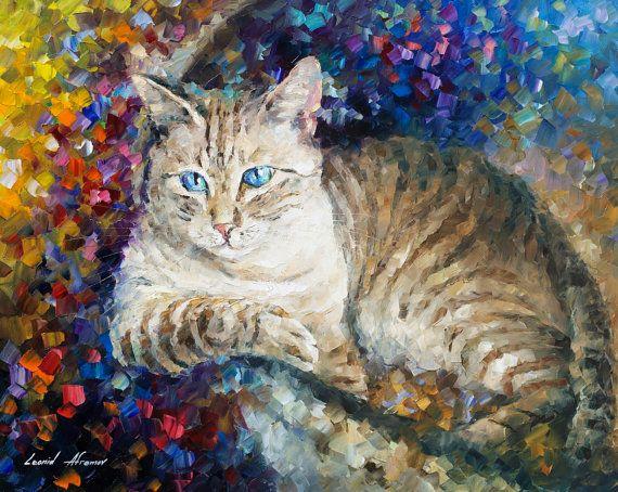 Cat oil painting Lovely Cat Cat home decor by AfremovArtStudio