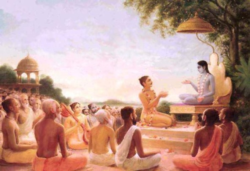 Śrīmad Bhāgavatam   1.1.13    tan naḥ śuṣrūṣamāṇānām arhasyaṅgānuvarṇitum  yasyāvatāro bhūtānāṃ kṣemāya ca bhavāya ca    TRANSLATION    O Sūta Gosvāmī, we are eager to learn about the Personality of Godhead and His incarnations. Please explain to us those teachings imparted by previous masters [ācāryas], for one is uplifted both by speaking them and by hearing them.