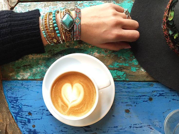 Coffee time with Hipanema bracelet and Amenapih hat!  #coffee #artcoffee #paris #morning #love #fashion #armcandy #bracelet #chapeau #hat