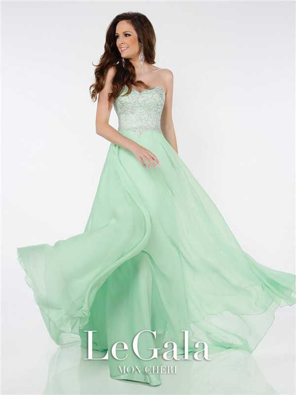Lime Beaded Long Formal Prom Dresses by Mon Cheri 116581 Discount