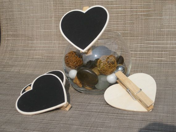 Check out this item in my Etsy shop https://www.etsy.com/listing/196922556/set-of-5-heart-chalkboard-clips-or-tags