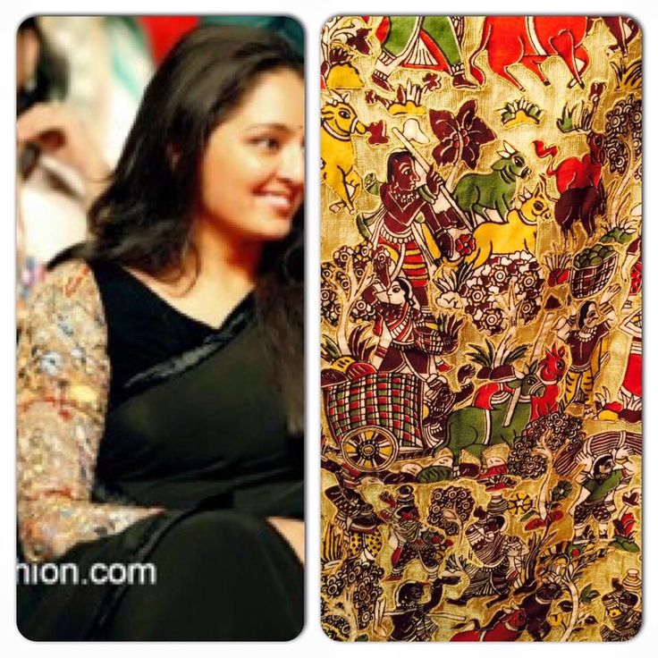 Actress and classical dancer Manju Warrier beautiful in black plain saree paired with black kalamkari full sleeves blouse highlighting the saree.