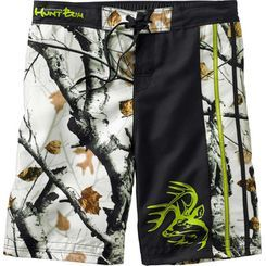 """Swim trunks or board shorts – this pair can handle both. Made from a unique brushed 100% poly sateen fabric that's quick drying and resists fading in Big Game® Snow Camo. Fully lined with a comfortable mesh brief, front drawstring ties, back elastic waistband, rear pocket with Velcro® closure. 9½"""" inseam."""