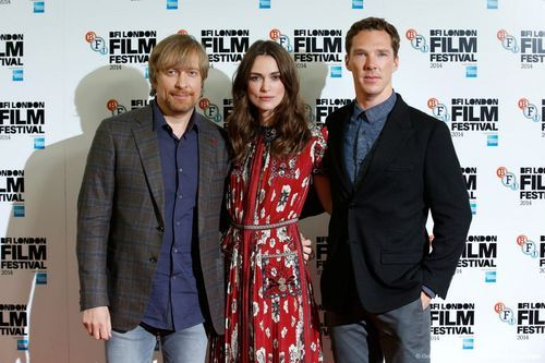 LONDON FILM FESTIVAL (October 8, 2014) ~ Director Morten Tyldum, Keira Knightley, and Benedict Cumberbatch arrive for THE IMITATION GAME press conference.