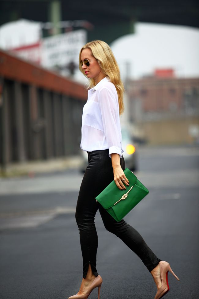 Black + white + nude and green. #streetstyle / chic casual outfit