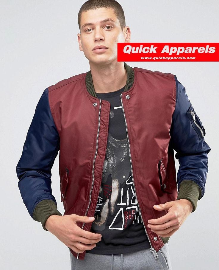 http://www.quickapparels.com/men-burgundy-nylon-bomber-jacket-contrast-sleeves.html