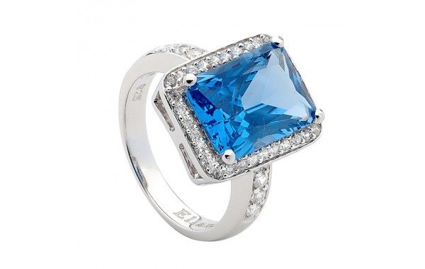 Blue rectangular cubic zirconia cluster ring, set in sterling silver.