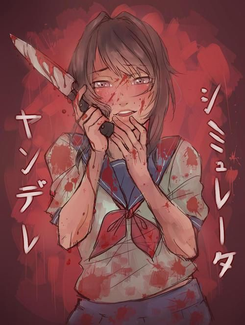 yandere simulator, anime, and blood image