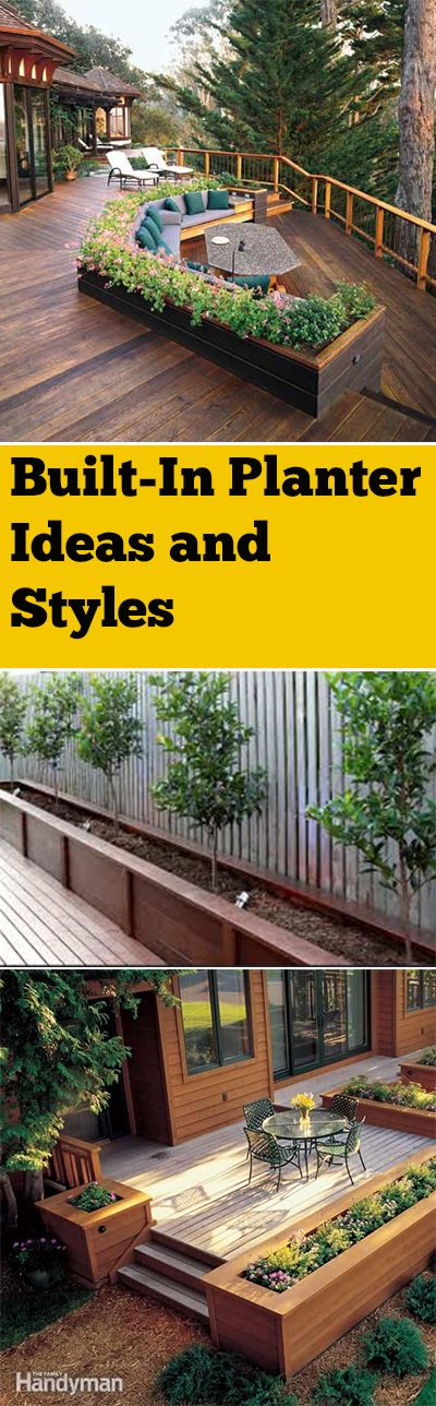 Built-in planter boxes and landscape ideas  ...♥♥... Gorgeous planter box ideas with built-in garden boxes. Lots of fun ideas, projects and tutorials.