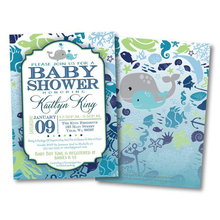 under the sea baby shower invitation diy printable ocean whale blue