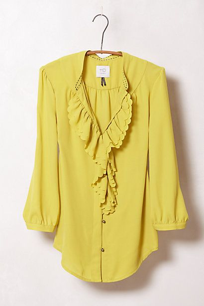 Anthropologie Ruffled Picea Buttondown