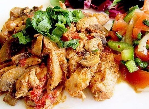 Chicken fillet with mushrooms Stroganoff