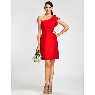 Lanting+Bride®+Knee-length+Taffeta+Bridesmaid+Dress+-+Sheath+/+Column+One+Shoulder+Plus+Size+/+Petite+with+Ruffles+/+Side+Draping+–+GBP+£+70.39