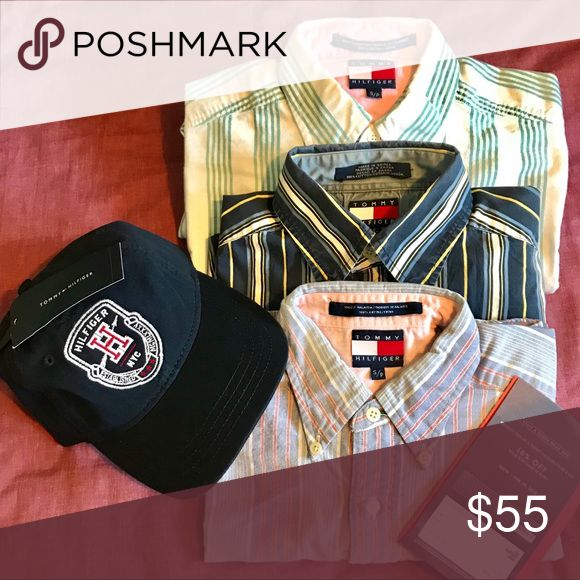 VTG & NWT Men's Small Tommy Hilfiger Bundle (4pc) 3 Men's small VTG long sleeve button ups in great condition,  new Benji Baseball Dad Cap with tags & a 10% coupon to a Tommy Hilfiger store that expires Feb 18, 2018.   Happy holidays y'all Tommy Hilfiger Shirts