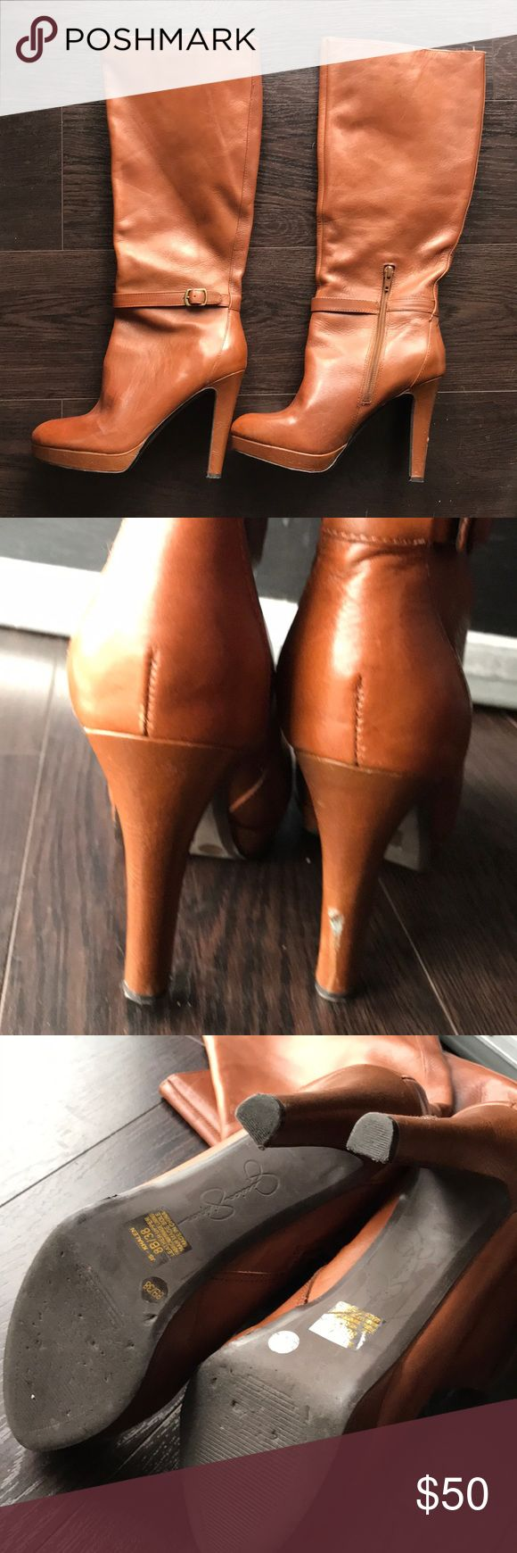 "Jessica Simpson Khalen Tall brown leather boots- 8 Jessica Simpson Khalen Tall brown leather boots- 8. Good used condition. Super soft leather. 5"" heel. One pretty big scuffmark on the right back heel.  Otherwise perfect. Bad ass!  ❤️Make an offer! Please remember Poshmark takes 20% Sorry no trades ❤️I ship quickly! Please accept your packages on the app as soon as you receive them so that the sellers can be paid.  ❤️Please read all descriptions and note condition before you buy. Bundle…"