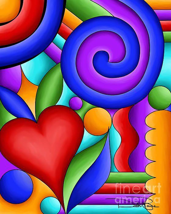 "Pop Art - ""Heart and Swirl"" - by Debi Payne Buy Now #buyart #cuadrosmodernos"