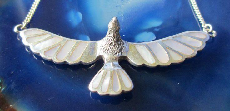 Adler Vogel Collier Kette Silber 925 Perlmutt Wappentier Indianer Donnervogel
