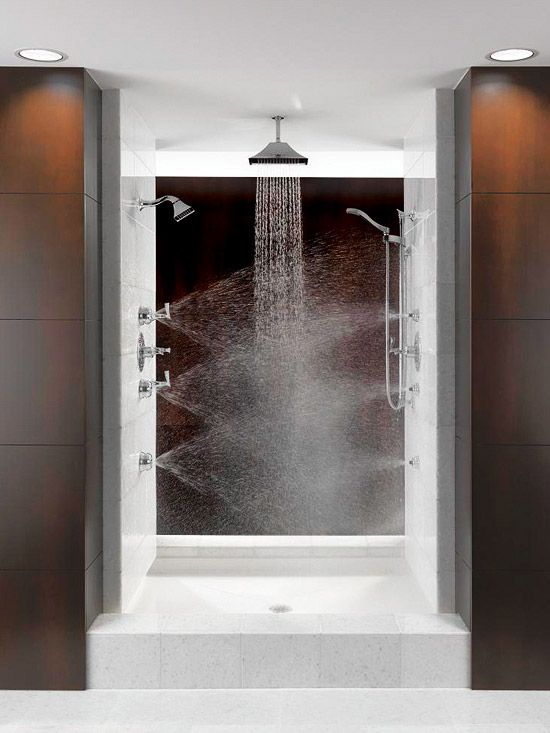 Multiple shower heads.