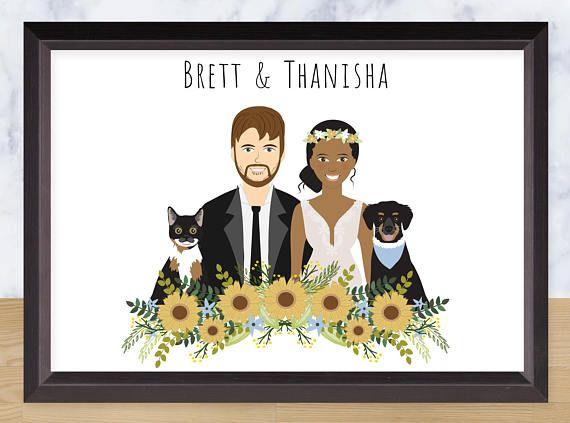 Couple Portrait Custom Drawing Personalized Illustration