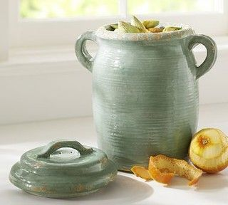Rustic Cucina Ceramic Compost Bin, Blue - traditional - kitchen trash cans - by Pottery Barn