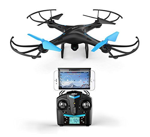 U45 Blue Jay WiFi FPV Drone with HD Camera - RC Quadcopter with Altitude Hold Custom Route Mode and One Button Take Off and Landing - Includes BONUS Power Bank - VR Headset Compatible