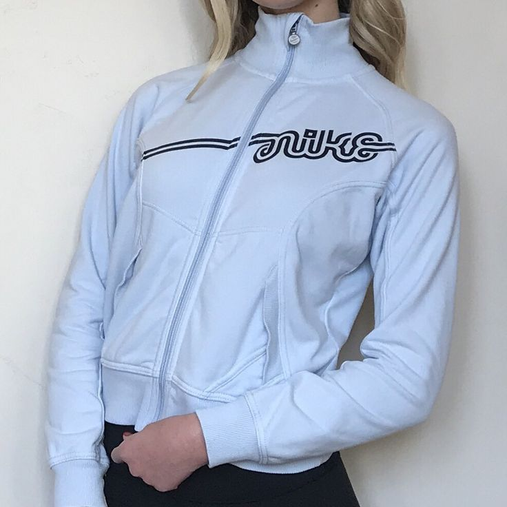 The cutest baby blue cotton nike track jacket!🤤😍💙 the perfect light jacket for winter and it's so soft on the inside! It's in amazing condition with no flaws! Message me with any questions or offers! :)