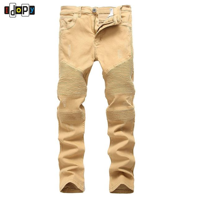 Fair price High Street Men`s Biker Jeans Khaki Ripped Scratched Designer Brand Motorcycle Super Skinny Distressed Denim Pants For Hipster just only $27.41 with free shipping worldwide  #jeansformen Plese click on picture to see our special price for you