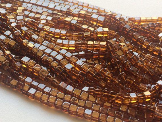 Hessonite Garnet Plain Cube Beads Hessonite by gemsforjewels